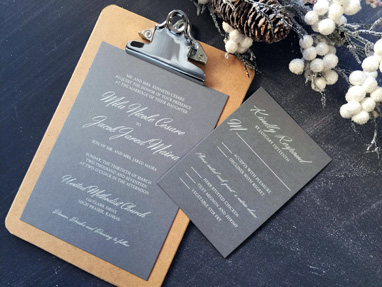 Pewter white ink invitation