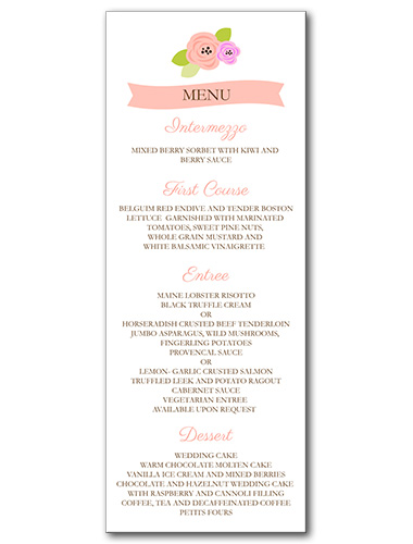A Bloomed Occasion Menu