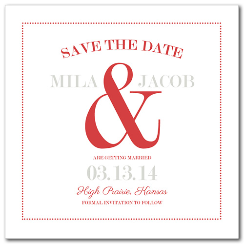 A Bold Display Square Save the Date Card
