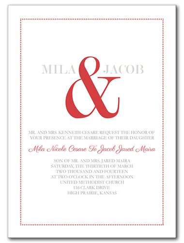 A Bold Display Wedding Invitation