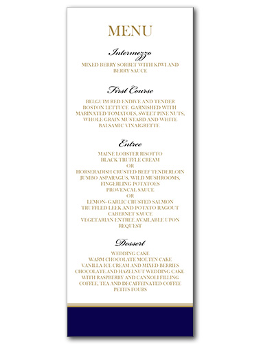 A Sailing Affair Menu