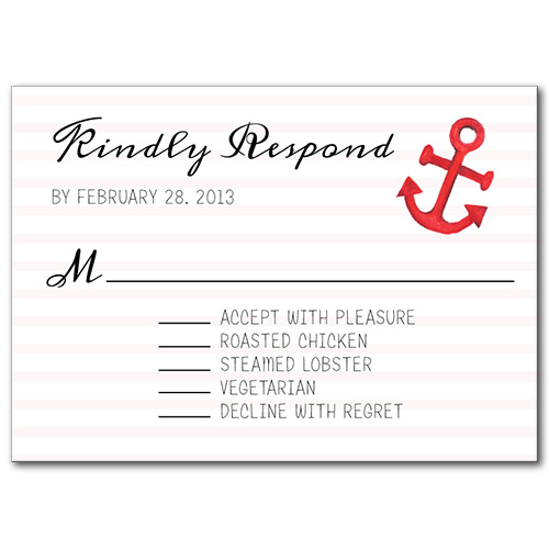 Anchors Away Response Card