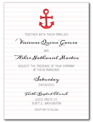 Anchors Away Wedding Invitation