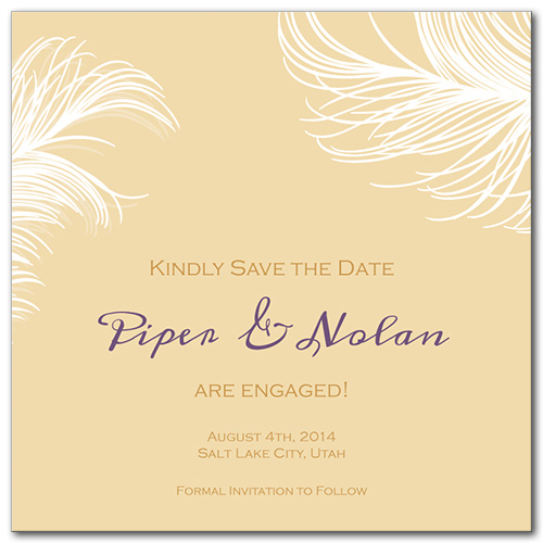 Airy Feathers Square Save the Date Card
