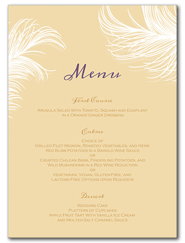 Airy Feathers Menu