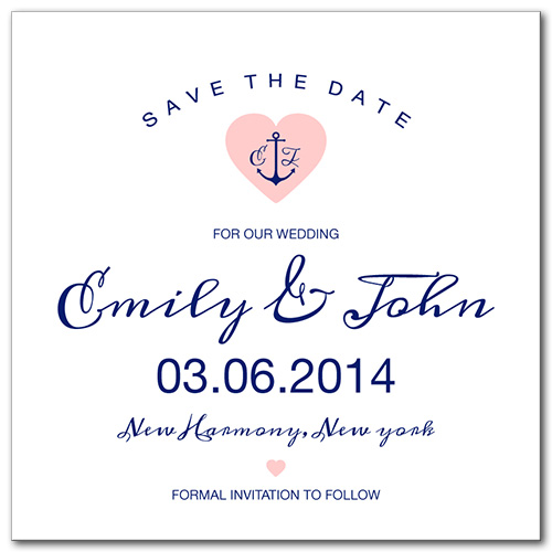 Anchored Love Square Save the Date Card