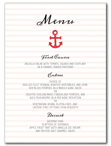 Anchors Away Menu