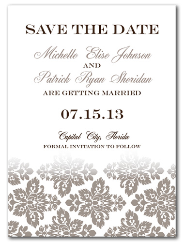 Antique Damask Save the Date Card