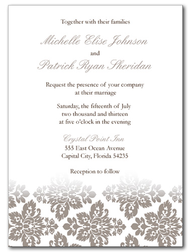 wedding invitations antique damask invitation