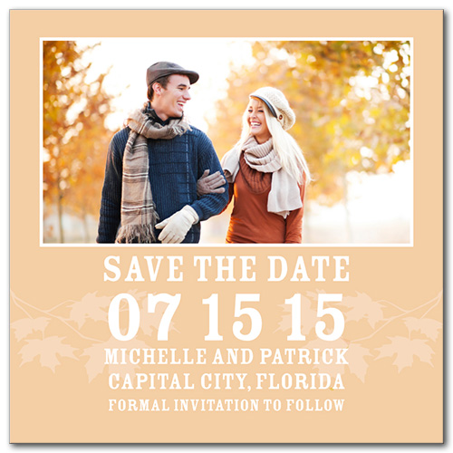 Autumn Leaves Square Save the Date Card