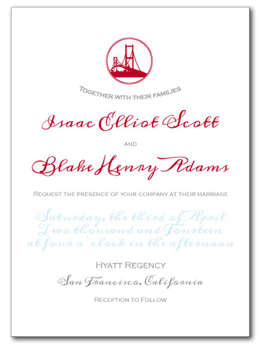 Bay Bridge Bay Wedding Invitation
