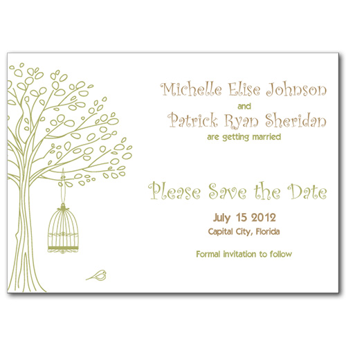 Blissful Birdcage Save the Date Card