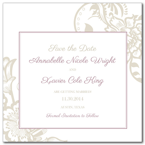 Blissful Garden Square Save the Date Card