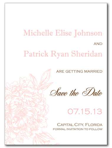 Blushed Blossom Save the Date Card