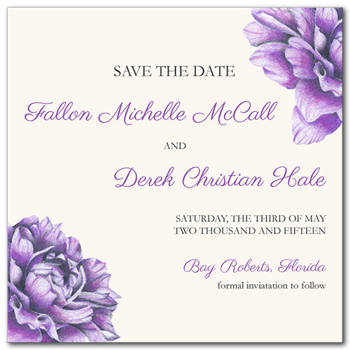 Charming Floral Square Save the Date Card