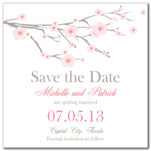 Cherry Blossom Square Save the Date Card