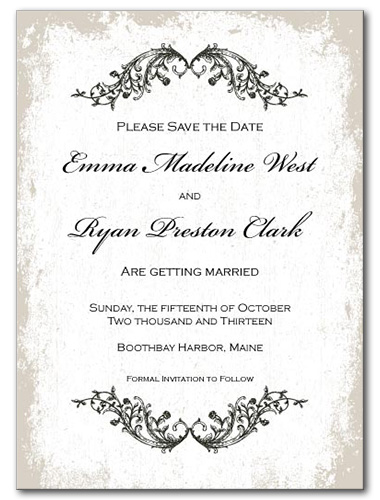 Classic Vines Save the Date Card