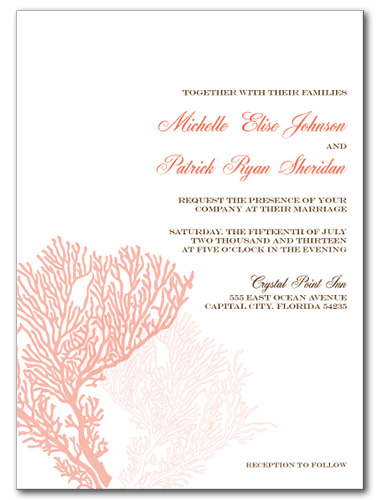 Coral Delight Wedding Invitation