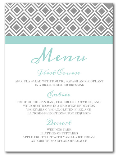 Diamond Lace Menu