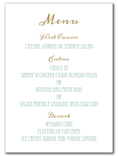 Elegant Emerald Menu