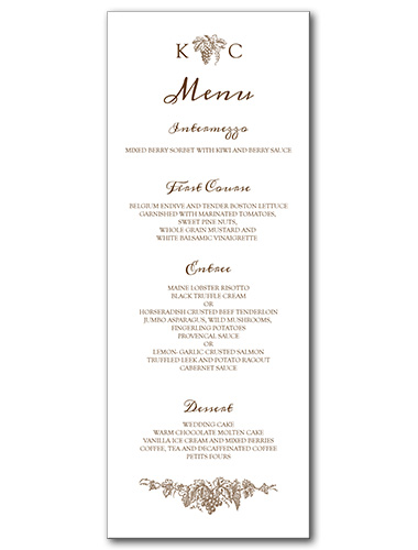 menus elegant vineyard menu