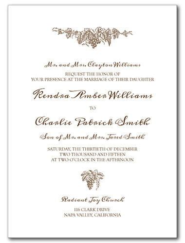 Elegant Vineyard Wedding Invitation