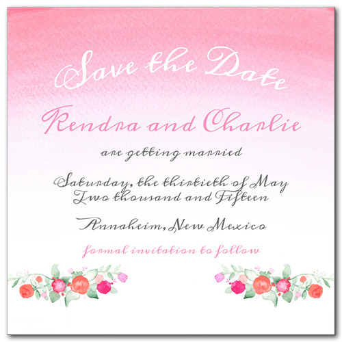 Faded Florals Square Save the Date Card