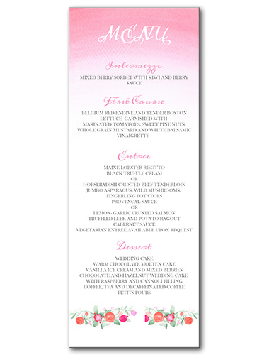 Faded Florals Menu