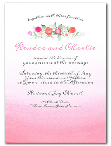 Faded Florals Wedding Invitation