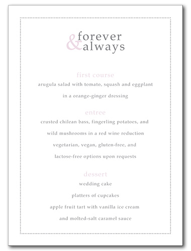 Forever and Always Menu
