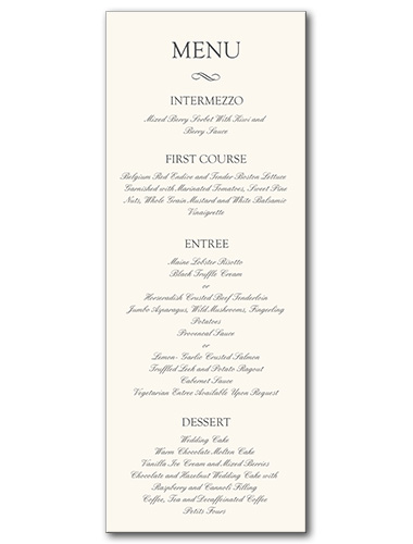 Formal Attire Menu