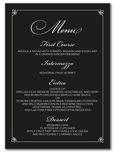 Formal Flourish Menu