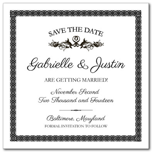 French Label Square Save the Date Card