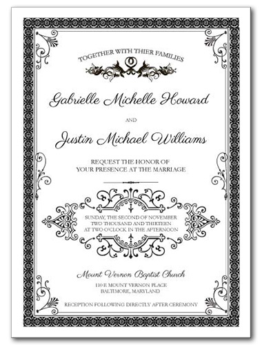 French Label Wedding Invitation