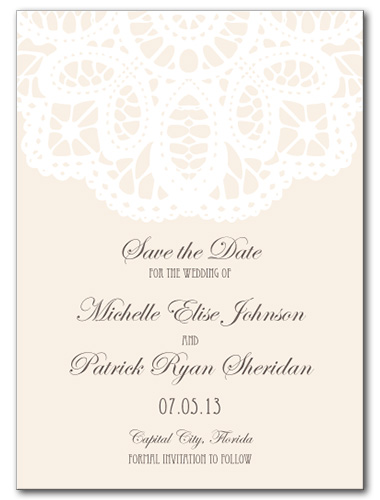 French Lace Save the Date Card