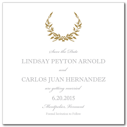 Gold Wreath Square Save the Date Card