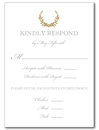 Gold Wreath Response Card