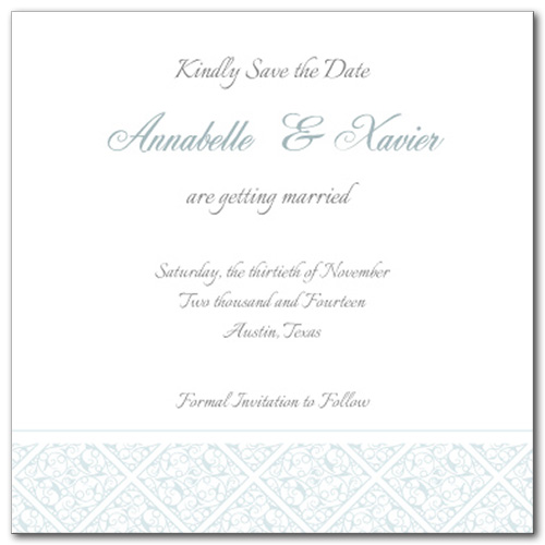 Gracious Glamour Square Save the Date Card