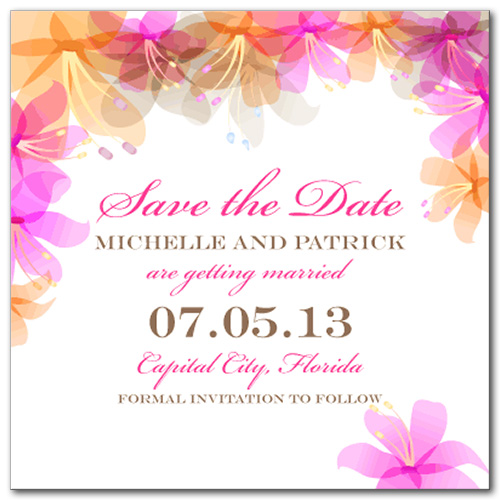 Hawaiian Bliss Square Save the Date Card