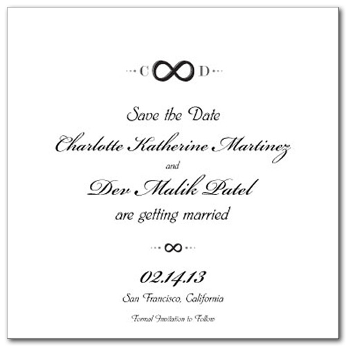 Infinite Love Square Save the Date Card
