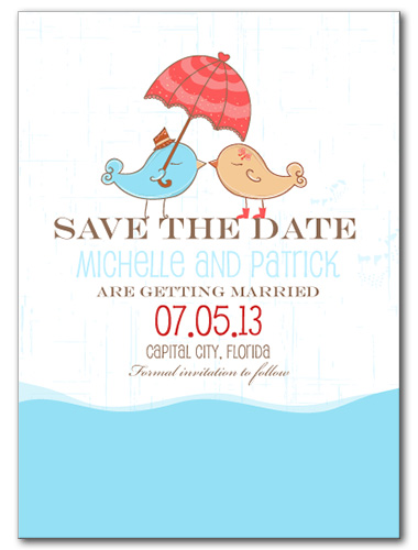 Kissing in the Rain Save the Date Card