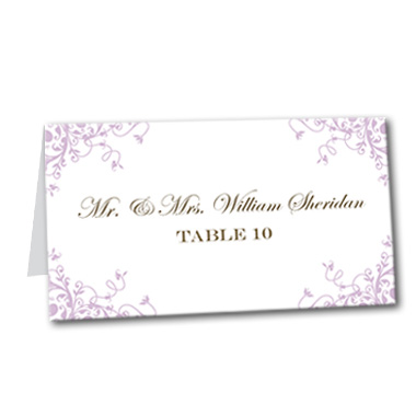 Lilac Flourish Table Card