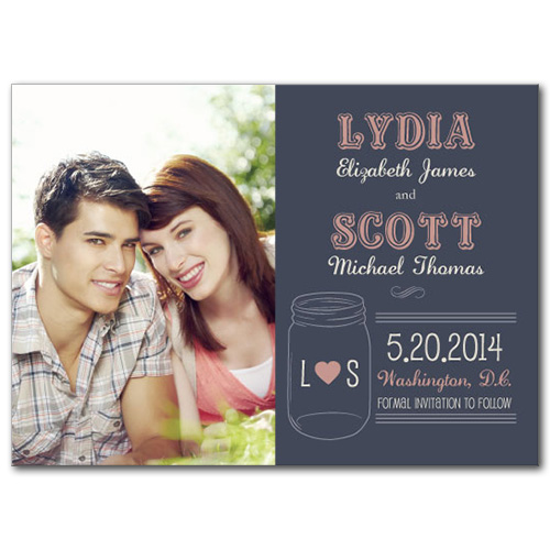 Mason Jar of Love Save the Date Card