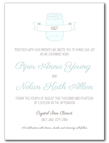 Mason Jar of Love Wedding Invitation