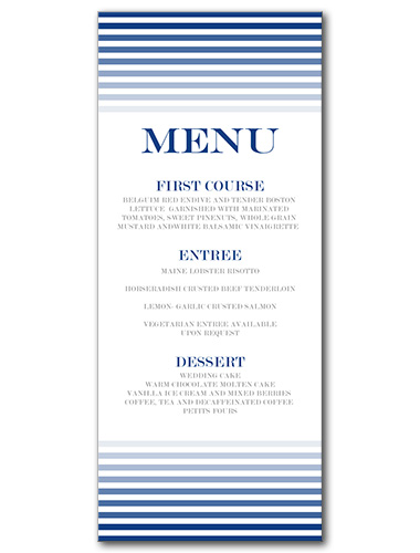 Ocean Sunset Menu