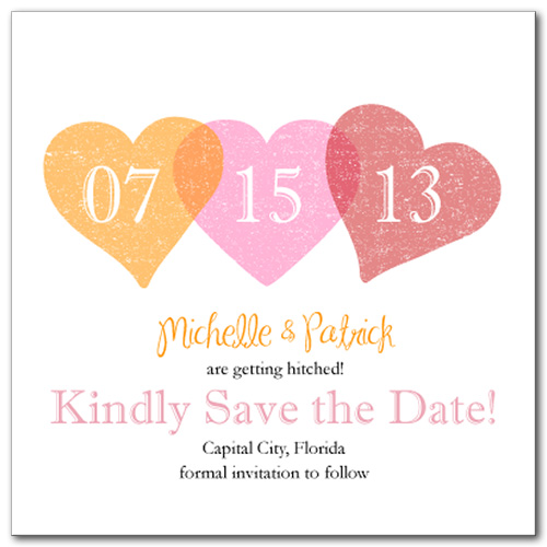 Opaque Hearts Square Save the Date Card