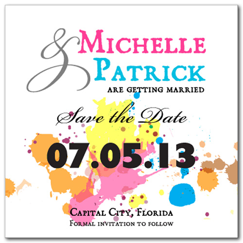 Paint Splatter Square Save the Date Card