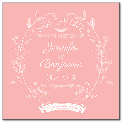 Pink Delight Square Save the Date Card