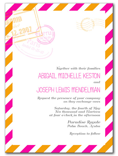 Pretty Postage Wedding Invitation