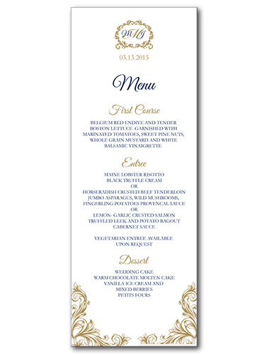 Regal Monogram Menu